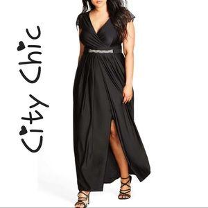 City Chic Flirty Drape Maxi Dress Plus size 14